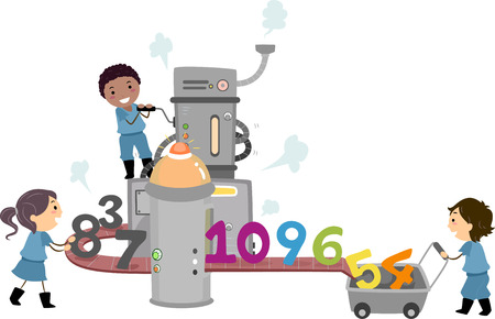 out of production: Stickman Illustration of a Group of Preschool Kids Manufacturing Numbers at a Factory Stock Photo
