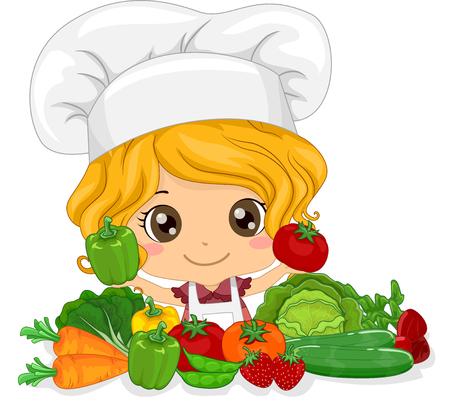 갓 고른 된 야채를 제시하는 독이에 귀여운 작은 소녀의 그림 스톡 콘텐츠