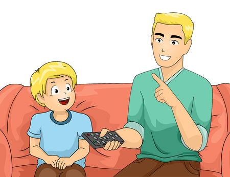 teaches: Illustration of a Father and Son Sitting on the Couch as the Dad Teaches His Son How to Use the Remote Control