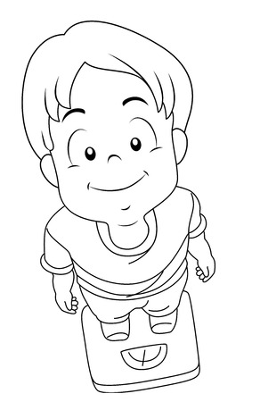 Coloring Page Illustration of a Smiling Little Boy Measuring His Weight