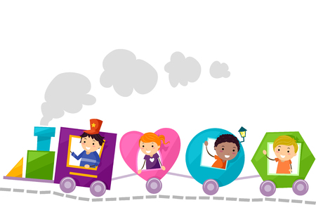 Stickman Illustration of a Group of Preschool Kids Riding Train Coaches of Different Shapes Reklamní fotografie - 71303165