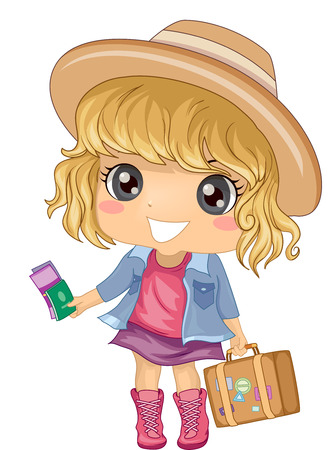 one girl: Illustration of a Cute Little Girl in a Wide Brimmed Hat Carrying a Suitcase in One Hand and Holding Travel Documents in the Other