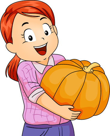 carrying out: Illustration of a Cute Little Girl Carrying a Large Pumpkin with a Huge Smile on Her Face