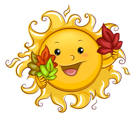 Autumn Themed Illustration of a Sun Mascot Holding Autumn Leaves of Different Colors