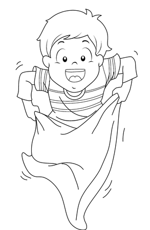 sacks: Coloring Page Illustration of a Little Boy Hopping Eagerly While Competing in a Sack Race