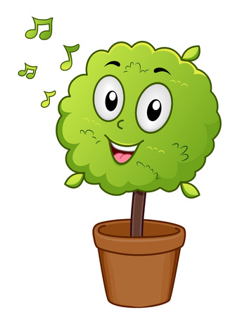 listens: Mascot Illustration of a Potted Indoor Plant Singing Along as it Listens to Music