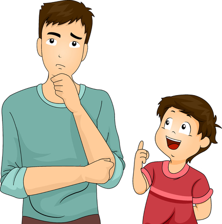 Illustration of a Father Thinking Hard After His Son Asked Him a Question Stock Photo