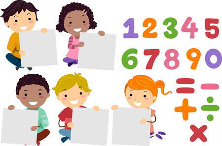 Stickman Illustration of a Group of Preschool Kids Holding Blank Boards Sitting Beside Numbers