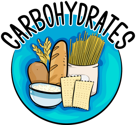 Icon Illustration Featuring Different Types of Food Rich in Carbohydrates