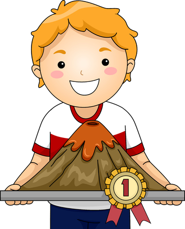 volcanic: Illustration of a Little Boy Showing His Prize Winning Volcanic Scale Model Stock Photo