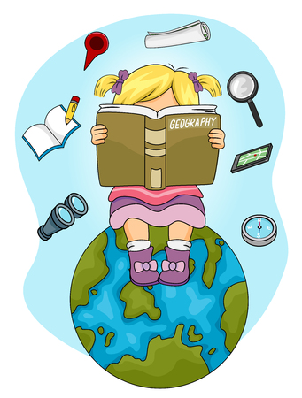 reading materials: Illustration of a Little Girl Sitting on Top of a Globe Reading a Geography Book Stock Photo