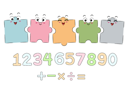 anthropomorphism: Mascot Illustration Featuring Jigsaw Puzzle Pieces Arranged Above Numbers and Mathematical Symbols