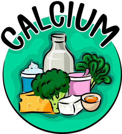 Icon Illustration Featuring Different Types of Food and Drinks Rich in Calcium