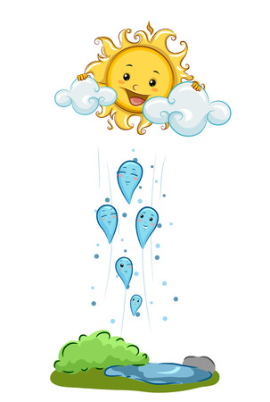 vapore acqueo: Illustration Demonstrating Condensation Through Mascots of Water Droplets Rising Towards a Mascot of the Sun
