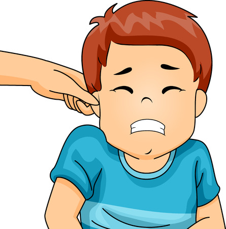 scared: Illustration of a Little Boy Wincing in Pain as His Parent Pinches His Ear Stock Photo