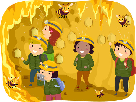 observing: Stickman Illustration of a Group of Preschool Kids Observing Bees in a Giant Honeycomb