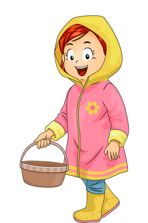 Illustration of a Cute Little Girl in a Pink and Yellow Raincoat Carrying a Basket