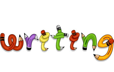 orthography: Colorful Typography Illustration of Pencils Twisted to Spell the Word Writing