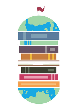 Illustration of a Pile of Books Sandwiched Between the Cross Section of a Globe