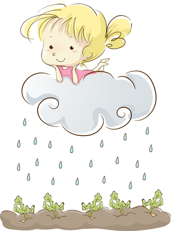 nourishment: Whimsical Illustration of a Little Girl Lying Lazily on a Cloud as it Rains on the Vegetables Below Stock Photo