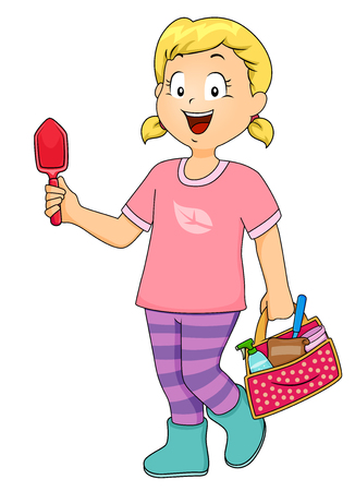 carrying out: Illustration of a Little Girl Holding a Trowel in One Hand and a Carrying Miscellaneous Gardening Tools in the Other Stock Photo