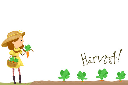 Stickman Illustration of a Little Girl in a Dress and a Sun Hat Harvesting Carrots from Her Garden