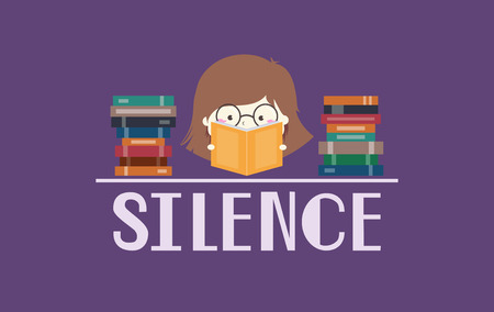 Illustration of a Nerdy Girl in Glasses Reading Books with the Word Silence Written Below Her