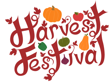 fresh produce: Typography Illustration Featuring the Phrase Harvest Festival Decorated with Pumpkins and Other Fresh Produce