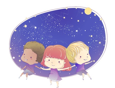 stargazing: Whimsical Illustration of Cute Little Kids in Indigo Clothing Stargazing Together Stock Photo