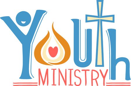 Typography Illustration of the Phrase Youth Ministry Decorated with a Cross and a Symbol of the Holy Spirit