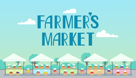 Typography Illustration Featuring a Colorful Line of Stalls at a Farmers Market