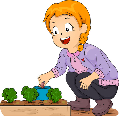 pick out: Illustration of a Smiling Little Girl Picking Snails Off Her Vegetable Garden