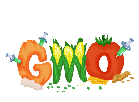 injected: Typography Illustration Featuring the Acronym GMO Drawn Like Fruits and Vegetables Being Injected with Chemicals Stock Photo