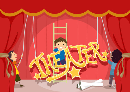 stage performance: Stickman Illustration Featuring Preschool Kids Setting Up the Stage for a Theatrical Performance
