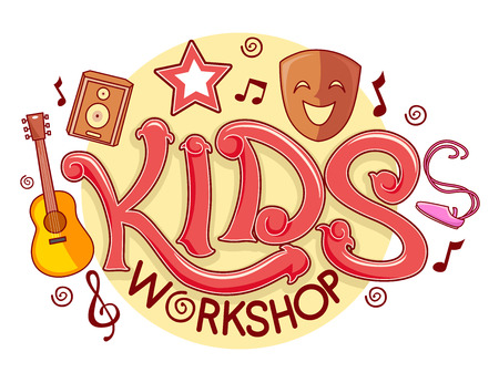 Typography Illustration Featuring a Ready Made Logo for a Kiddie Workshop