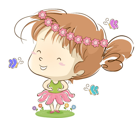 Whimsical Illustration of a Cute Little Girl Wearing a Tutu and a Flower Crown Playing with Butterflies