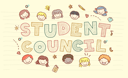 schooler: Doodly Illustration Featuring Stickman Kids Scattered Around the Words Student Council