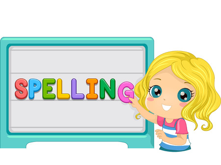 Illustration of a Cute Little Kid Arranging Letters on a Magnetic Board to Form the Word Spelling Stock Photo