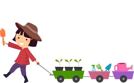 Ilustración de una niña linda que tira de un carro lleno de plantas y herramientas de jardinería Foto de archivo