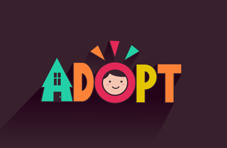 foster: Typography Illustration Featuring the Face of a Cute Kid Placed on the Word Adopt