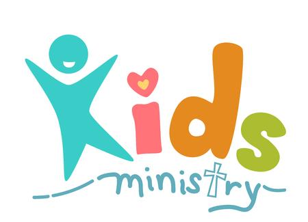 Typografie Illustratie die de uitdrukking Kids ministerie Geschreven in kleurrijk en speels Script Stockfoto