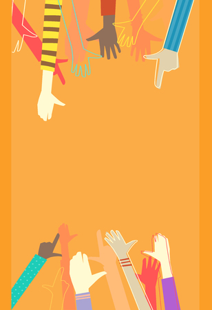 biracial: Colorful Background Illustration Featuring the Outstretched Arms of Kids of Different Races Stock Photo