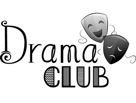 drama mask: Typography Illustration Featuring the Words Drama Club Written Beside a Pair of Greek Theater Masks