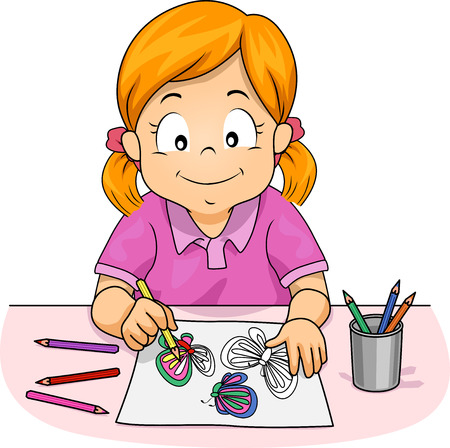 colored: Illustration of a Little Girl Using Colored Pencils to Draw Butterflies for Her Art Class