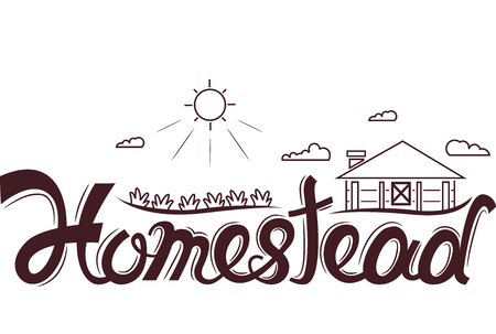 homestead: Typography Illustration Featuring the Word Homestead with a Common Rural Scene as its Background