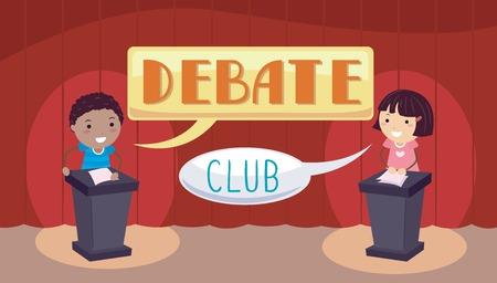 Stickman Illustrazione di un ragazzino e una ragazza in piedi sul loro Podia rispettivi durante una partita di dibattito