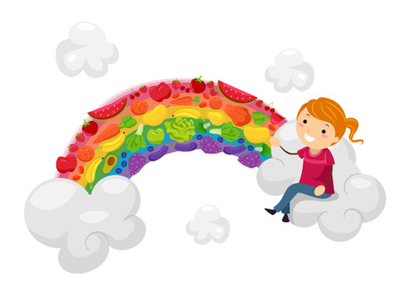veggies: Stickman Illustration of a Little Girl Sitting on a Cloud Next to a Rainbow Decorated with Fruits and Vegetables