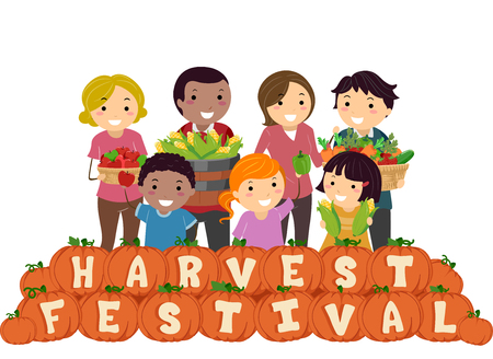 carrying out: Stickman Illustration of a Family Carrying Baskets Filled with Fruits and Vegetables Standing Behind a Row of Pumpkins That Spell Out Harvest Festival Stock Photo