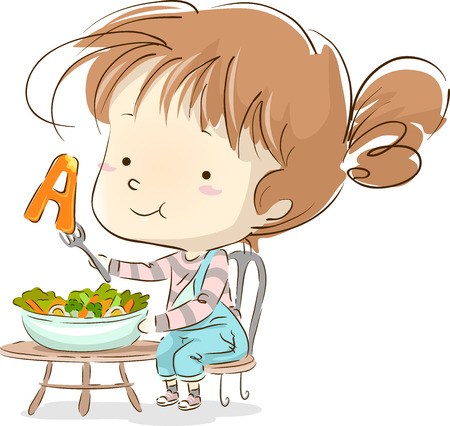 Illustration of a Cute Little Girl Snacking on Vegetables Rich in Vitamin A Stock Photo