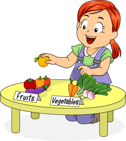 sort out: Illustration of a Little Girl Kneeling in Front of a Table Separating Fruits from Vegetables Stock Photo